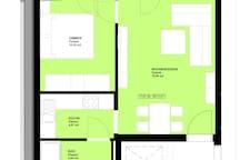 Plan der Wohnung mit Einrichtung