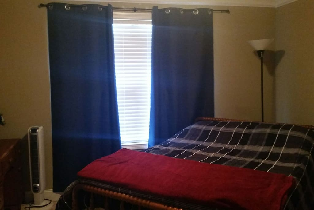 Your bedroom has blackout curtains as well as a lovely 4 inch memory foam mattress pad.