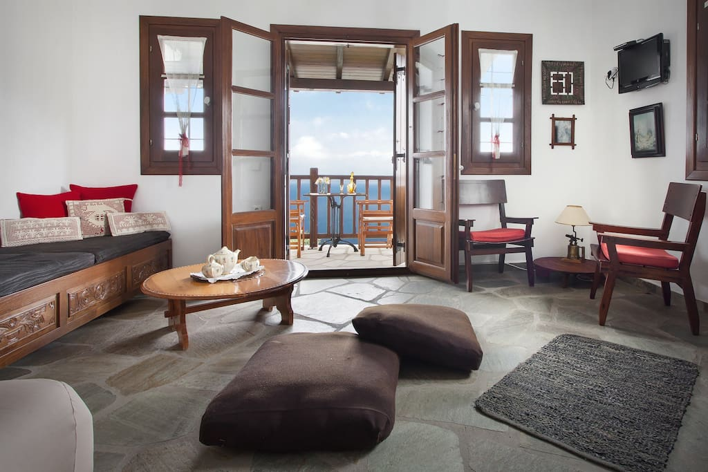 Living room-Opening to the balcony with Aegean view