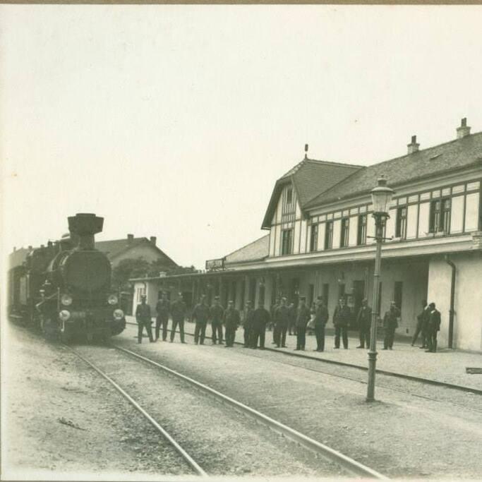 Steam trains around 1910.