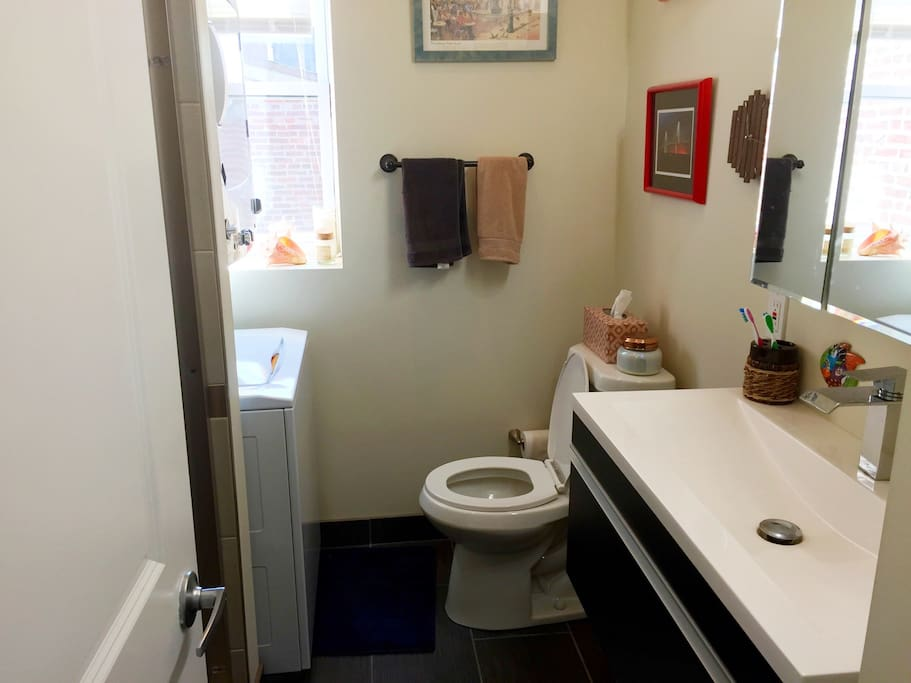 Bathroom includes washer and dryer