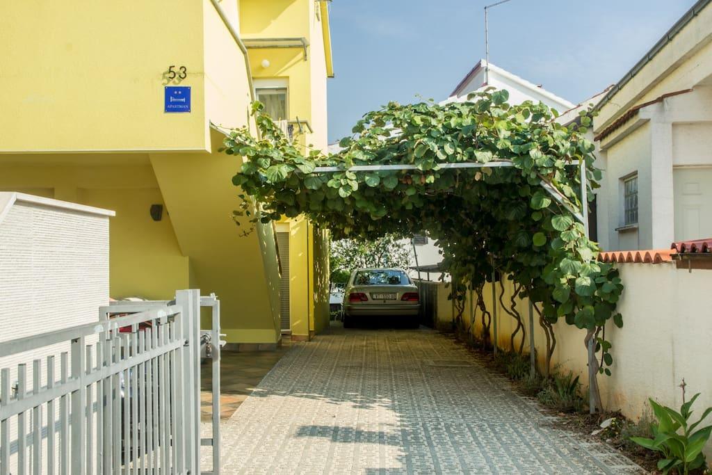 Parking space under shade