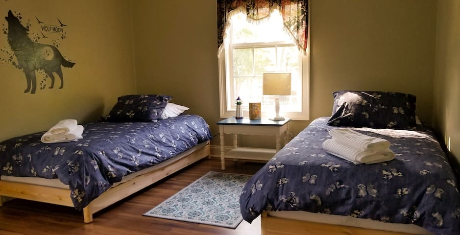 """2 double beds in the """"kids"""" room."""
