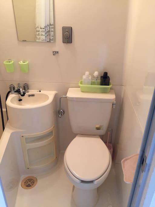 Unit bath and toilet.