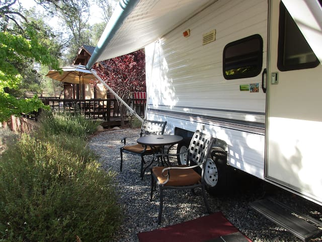 Camper with outside deck and view! - Oakhurst