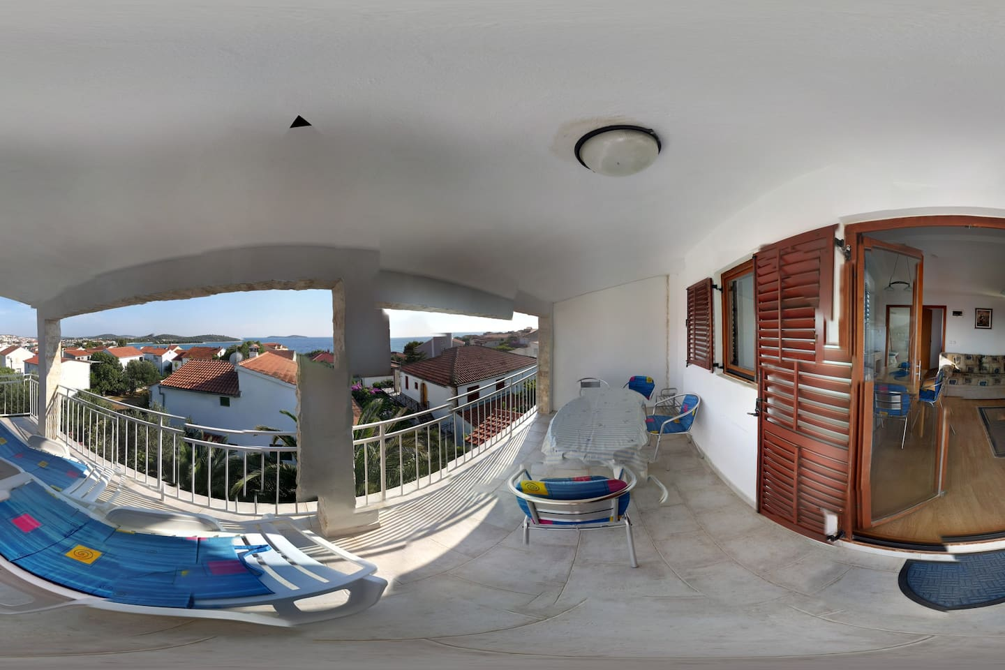 Big terrace connected with the studio apartment, sea view :-) (filmed by fish eye lens)