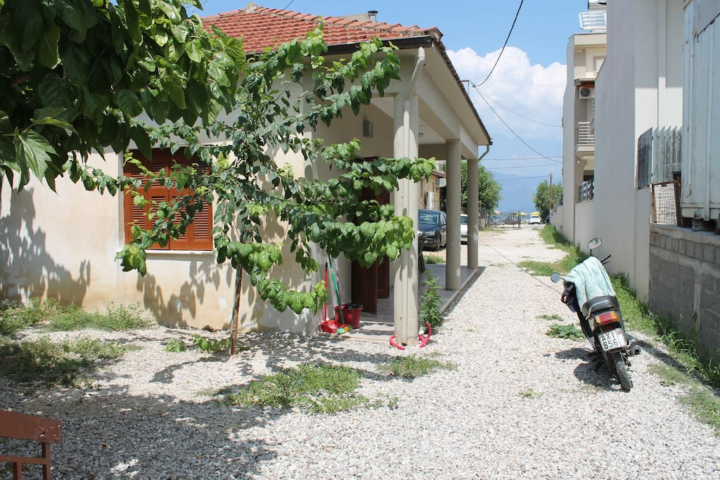 The home's driveway and partial seaview to the Corinthian Gulf.