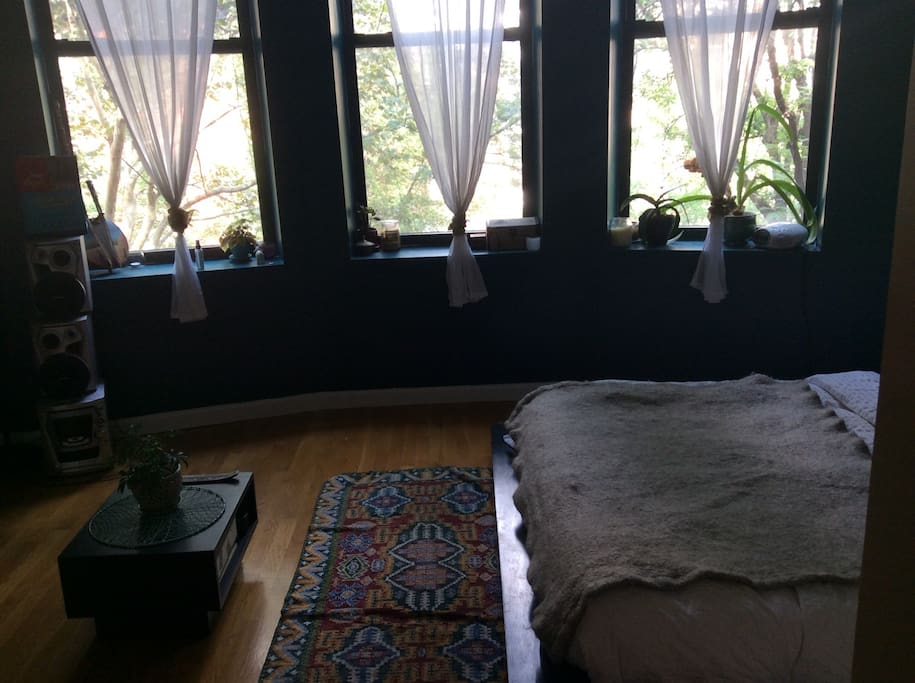 Three large windows = a lot of light (white curtains provide privacy, but not shade)