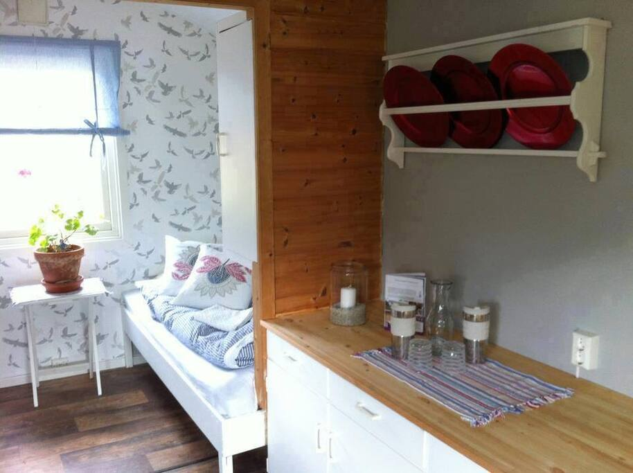 This is our cabin vardnes with two-three beds. Located close to the guesthouse Varden