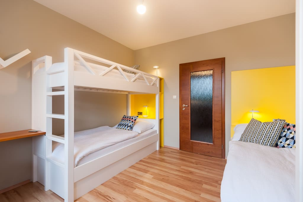Second bedroom with three beds