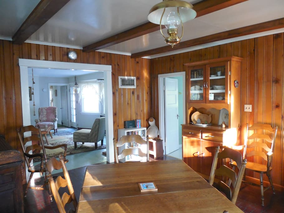 Looking from kitchen into dining room, the view you're greeted with when you first walk in.