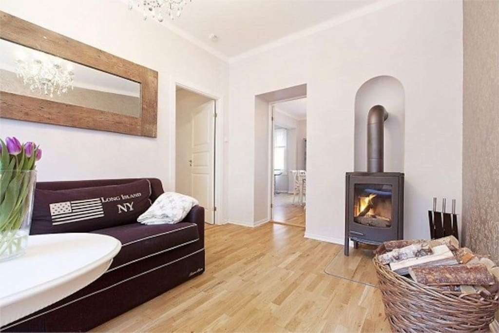 Living room with fireplace. Can also be used as a second bedroom if preferred.