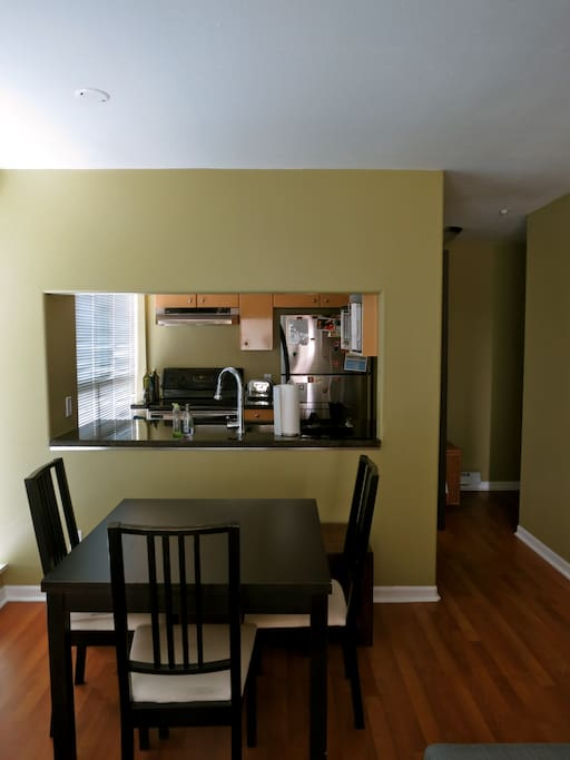 Kitchen opens up to the dining area.