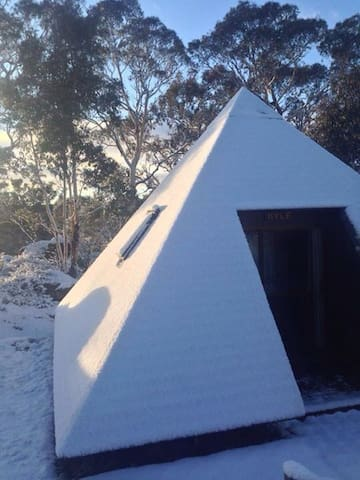 Pyramid cabin covered in snow winter 2015
