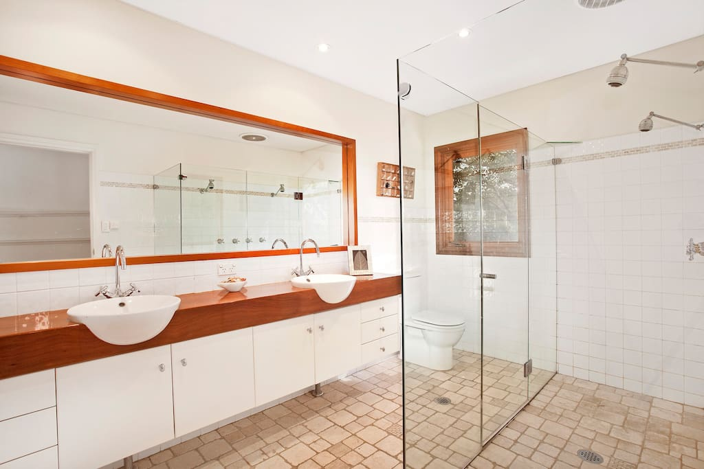 Master bathroom with heated floor and double showers.
