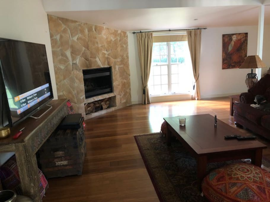 """Expansive lounge area, 60"""" Television with Foxtel connection. Open fireplace is great in winter"""