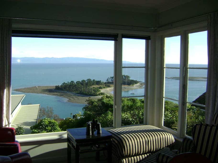 """The ultimate view of Nelson from our dining table for breakfast. Watch ships coming in through """"The Cut"""""""