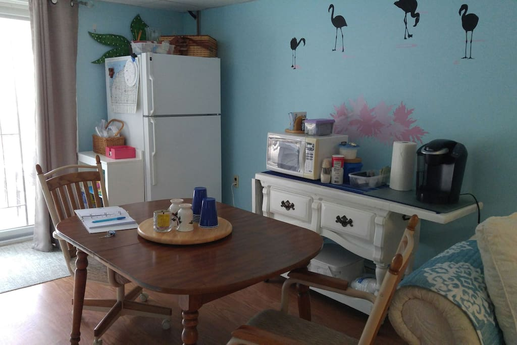 Full size refrigerator, Microwave,  Regular coffee pot. Ice packs, coolers, now located in second room.
