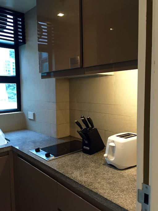 Kitchen with all amenities - washing machine, hob, microwave