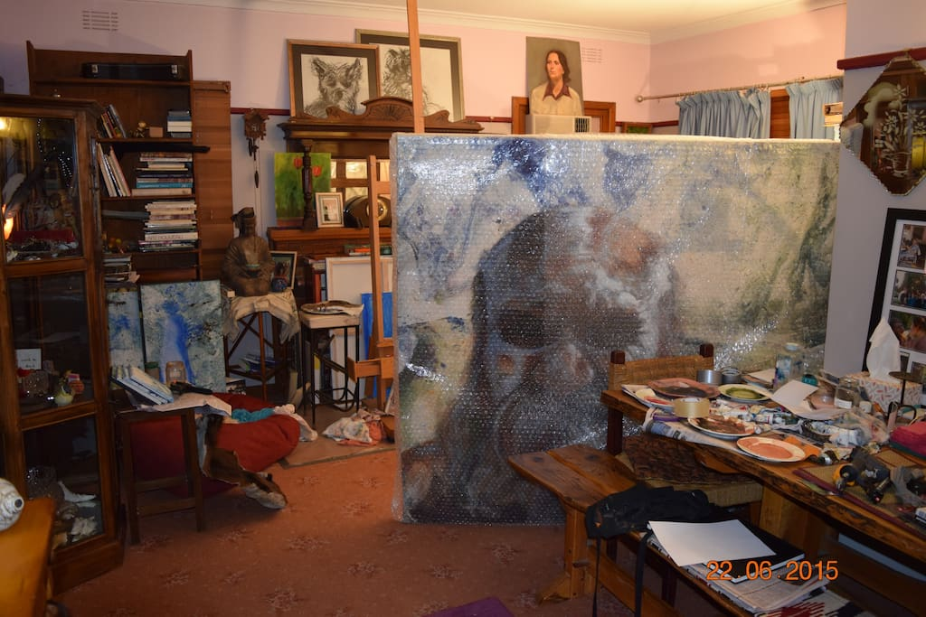 studio with Artwork packaged and ready to go