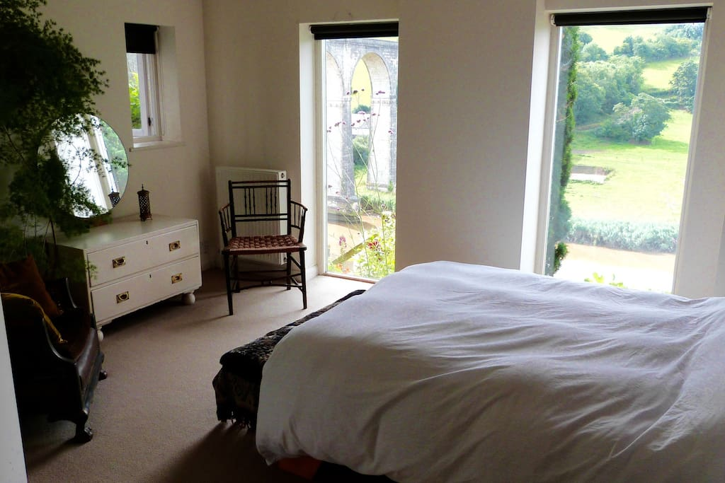 Bedroom with unspoilt views across the tamar valley