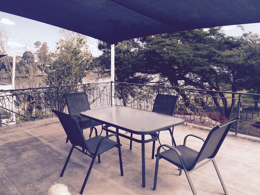Large and private outdoor deck with has a shade sail. From the deck you have views of the Brisbane river.