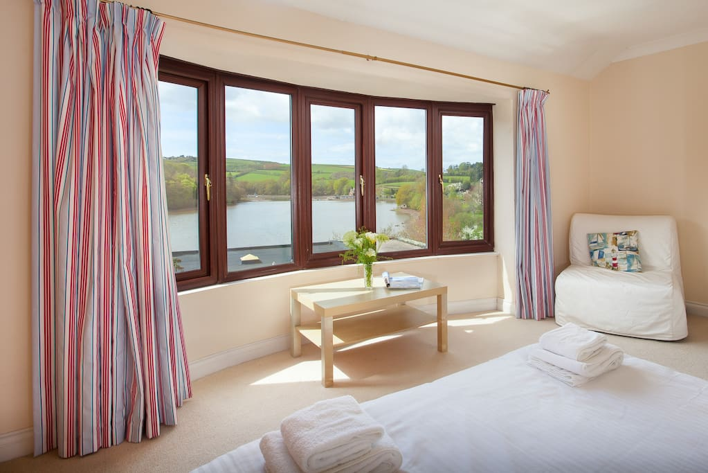 Master bedroom overlooking the Mill Pond in Stoke Gabriel