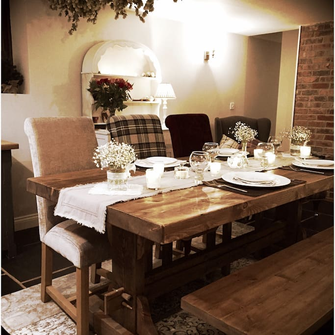 Farmhouse style dining/living space (Photo taken 2016 before doors added to garden)