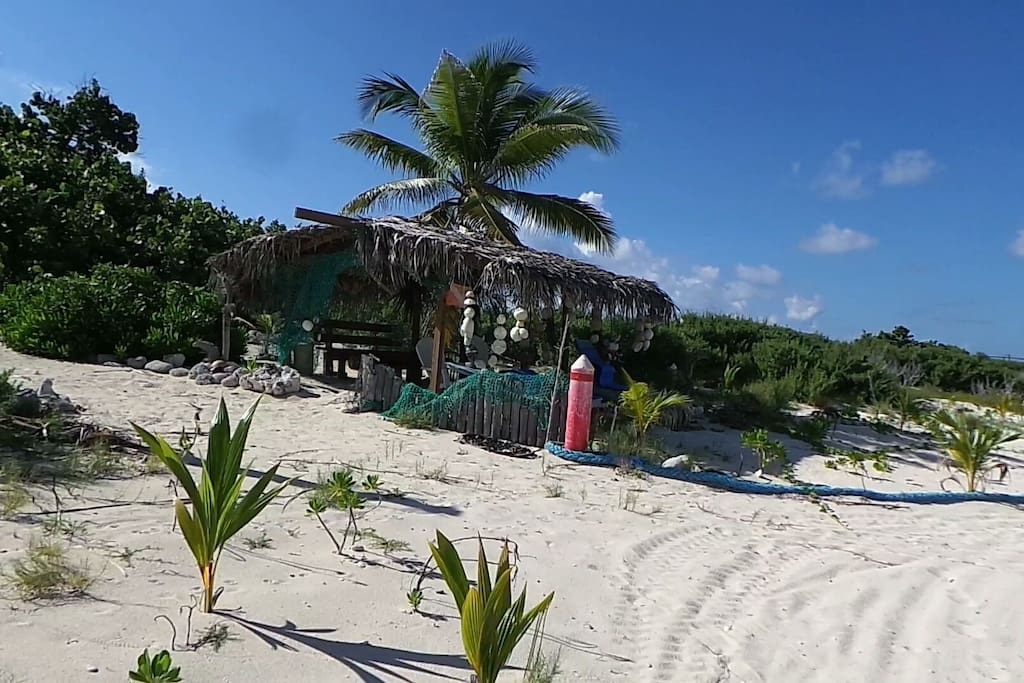 Private beach with two cabanas