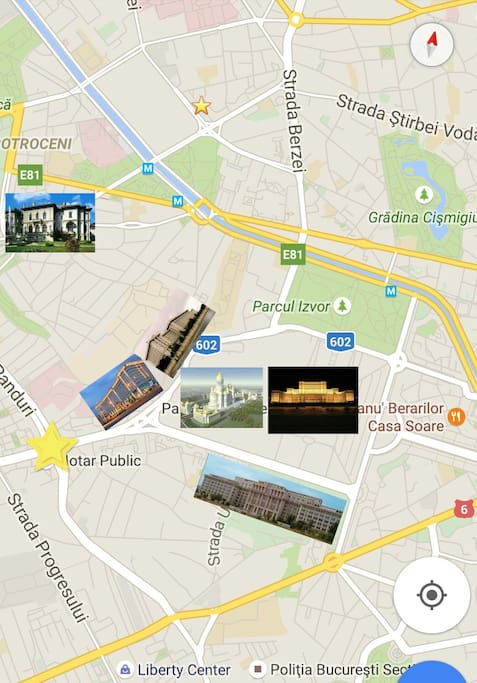 The map where the apartment is located. Marriot Hotel, Palace of the Parliament, Defence Administration Building, Romanian Academy Building, Cotroceni Palace, Izvor Parc and Cismigiu Garden are all in the same area. 15 minutes and you get all.