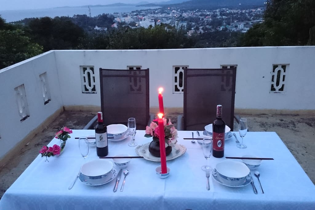 Candlelit dinner on the roof of  bungalow