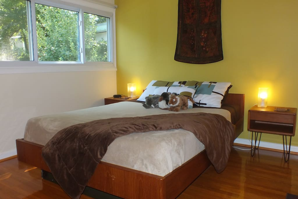 Comfy queen-size bed with memory foam mattress