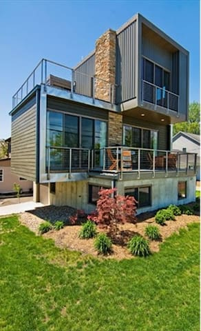 Modern design features two large decks with great water views
