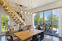 Six person dinning table and four bar stools