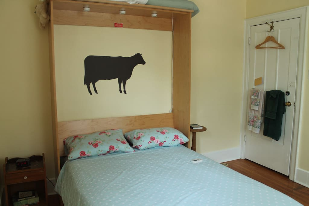 Guest room (3.2m by 3.4m, or 11 x 11ft) with double murphy bed.