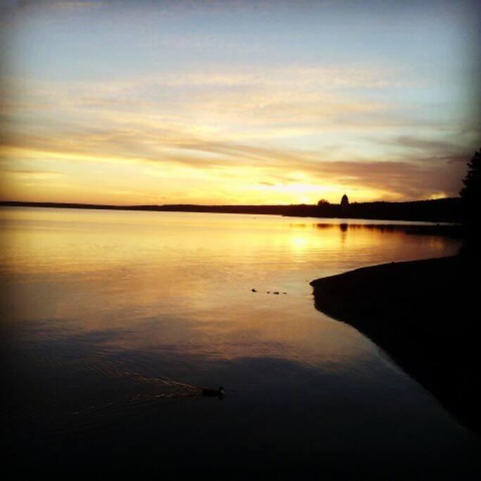 Solnedgång från Rättviks långbrygga