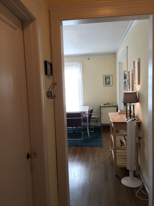 Looking from front door into living space