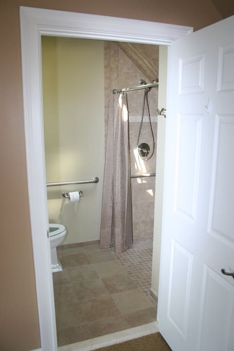 Newly renovated bathroom with operating skylight.