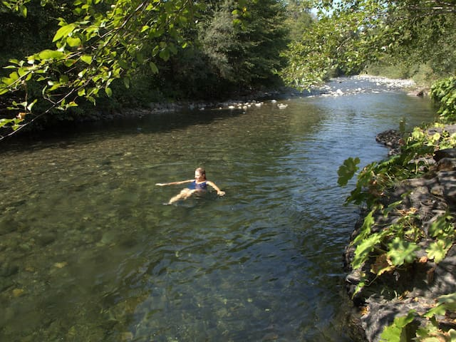 The water temperature is perfect in July- September for swimming. Just what summer is all about. My favorite time of year when you just want to hang out by the clear water.  It is 4ft deep where Lisa is floating by.