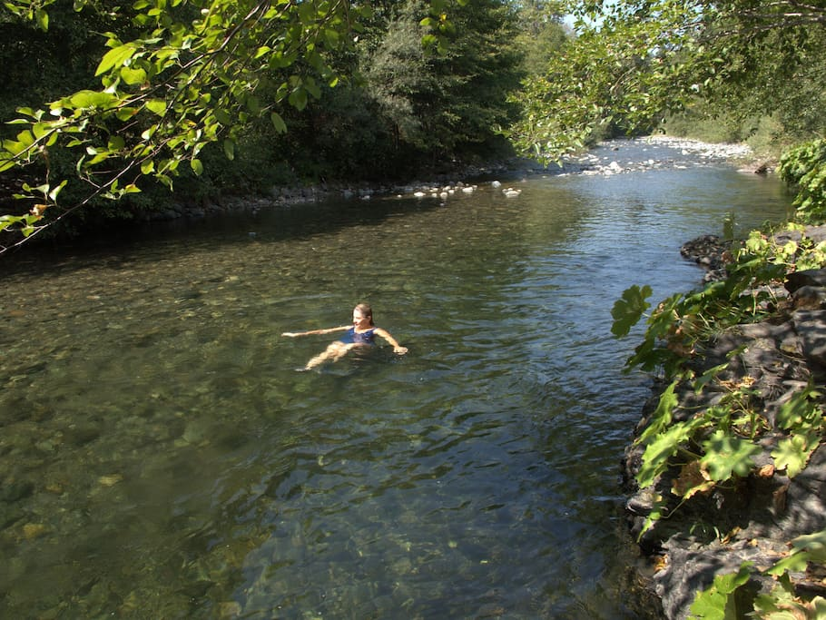 The water temperature is perfect in July- September for swimming. Just what summer is all about. My favorite time of year when you just want to hang out by the clear water.