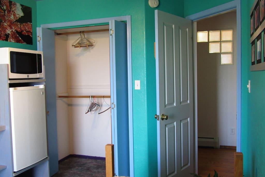 Fridge, and microwave, plenty of closet space.