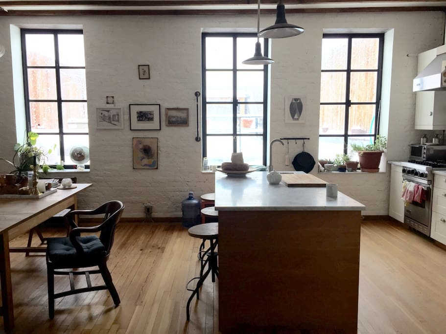 Large french windows open to patio.