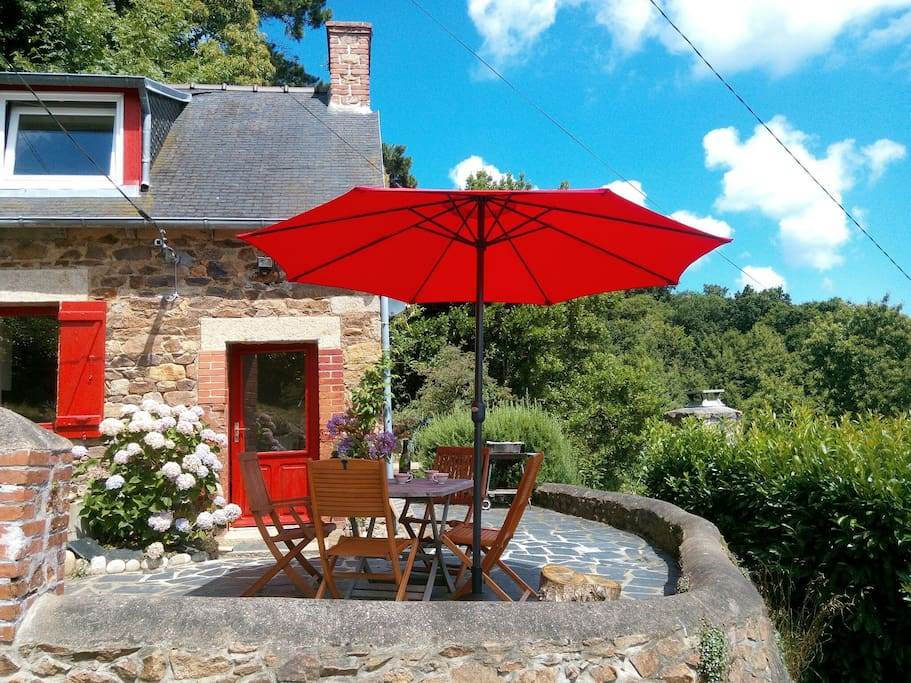 La terrasse avec barbecue et romarin