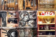 Collage of the utensils, glassware, cookware, etc. that is in the Kitchen