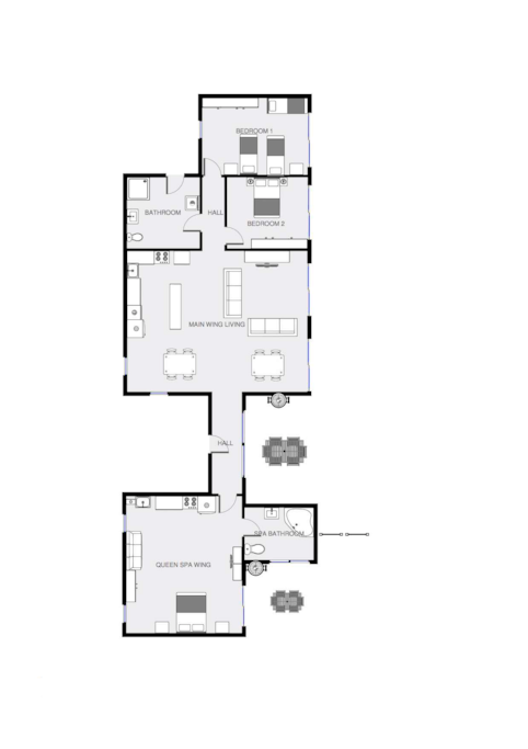 Property Plan, Main Wing and Queen Wing + Whole House