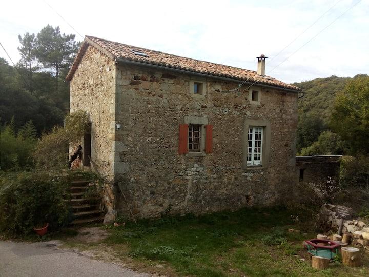 Maison en pierre et Zome en bois pleine nature