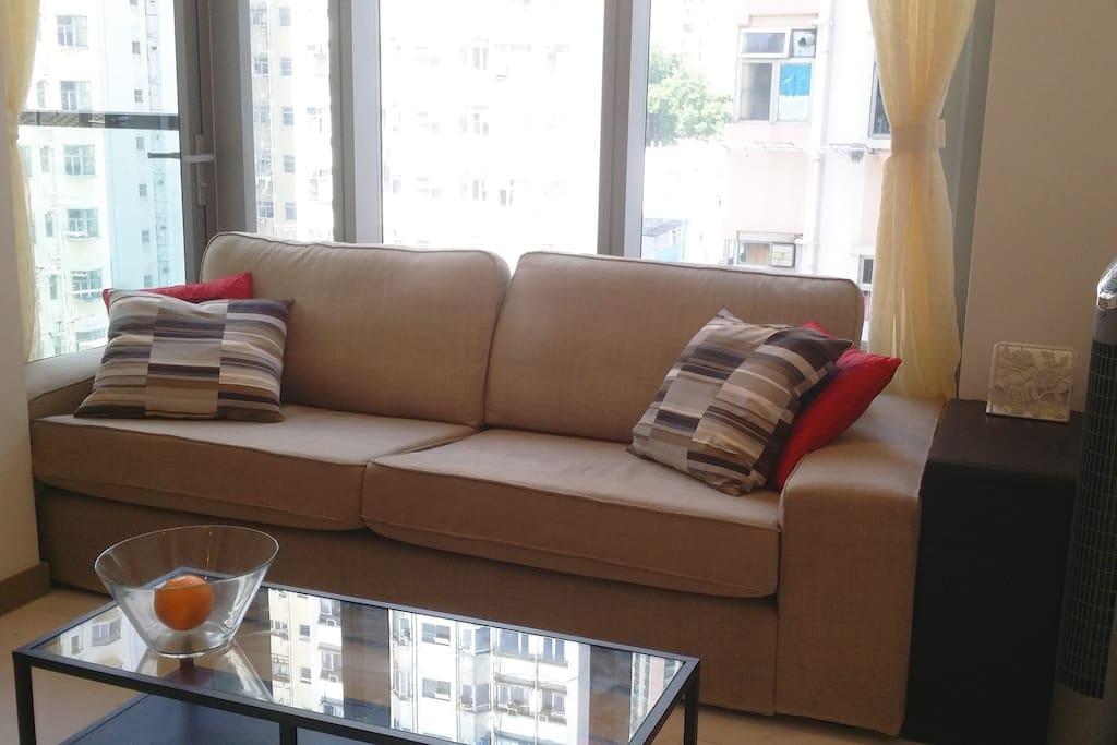 Comfortable couch in window area