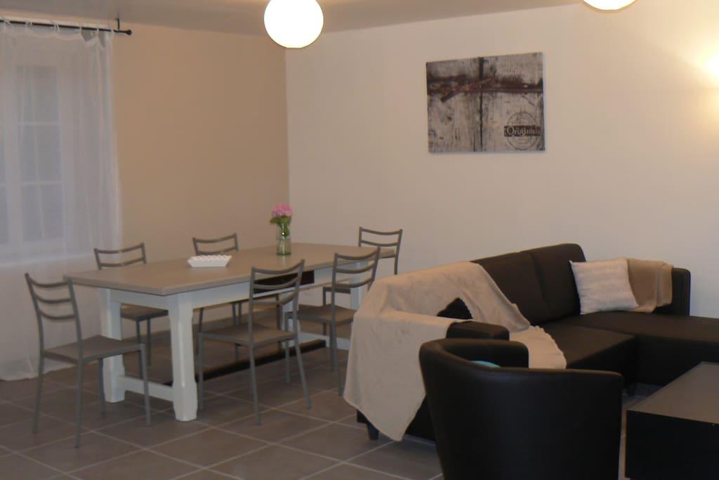 cuisine/salle à manger/salon + 40 m2 et wc indépendant