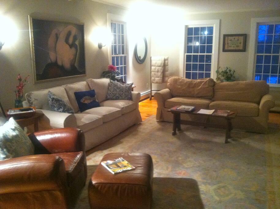 Light-filled yet cozy living room.