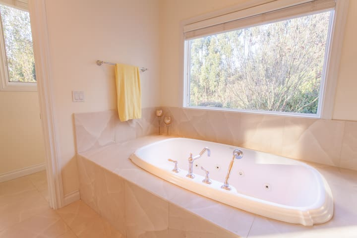 The master bath's jetted bathtub
